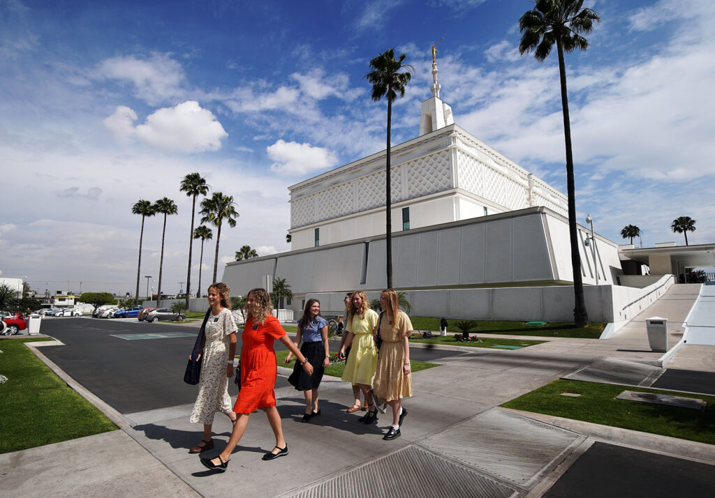 Missionaries walk from the building after attending the Mexico City Mexico Temple of The Church of Jesus Christ of Latter-day Saints on Friday, Jan. 24, 2020.
