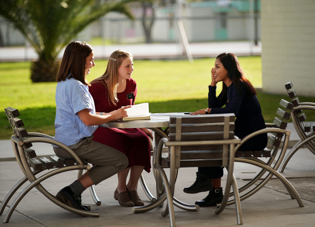 Sister Lauryn Bunker, left, of Gilbert, Arizona, and Sister Camille Cowley of Columbia, South Carolina, learn Spanish from instructor, Sister Leydi Perez, from Puebla, Mexico, at the Mexico Missionary Training Center of The Church of Jesus Christ of Latter-day Saints on Friday, Jan. 24, 2020.