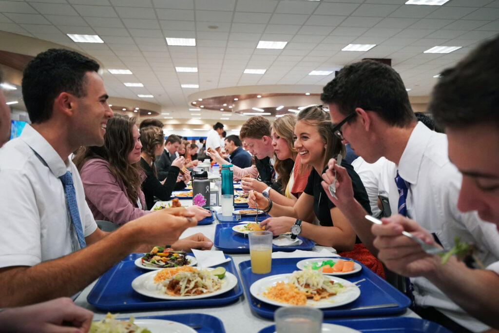 Missionaries talk as they eat in the cafeteria of the Mexico Missionary Training Center of The Church of Jesus Christ of Latter-day Saints on Friday, Jan. 24, 2020.