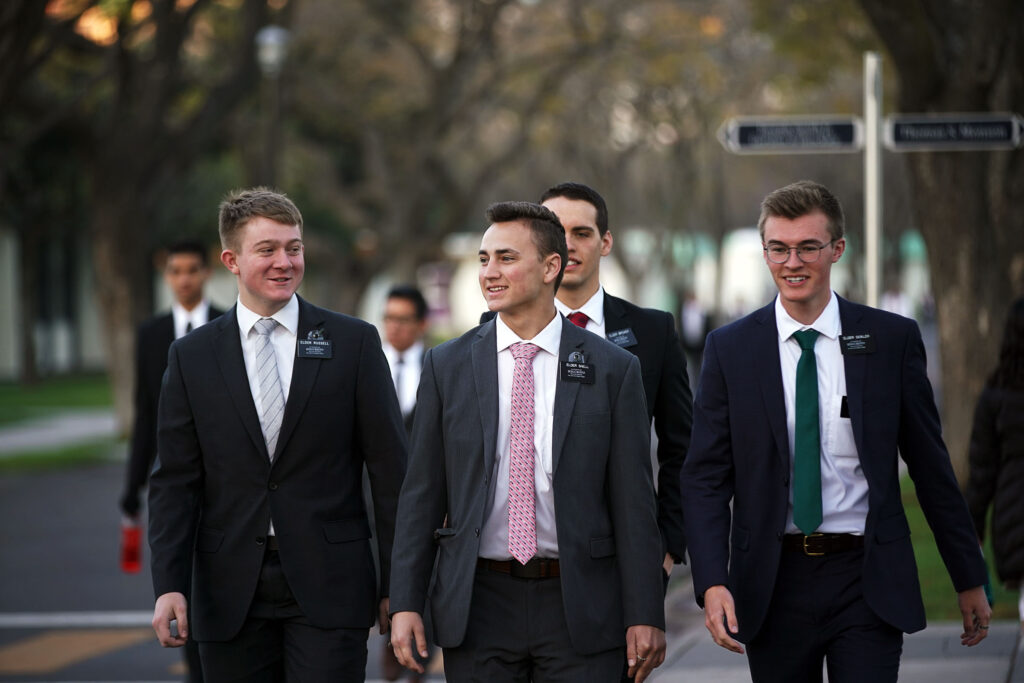 Missionaries walk to breakfast at the Mexico Missionary Training Center of The Church of Jesus Christ of Latter-day Saints on Sunday, Jan. 26, 2020.