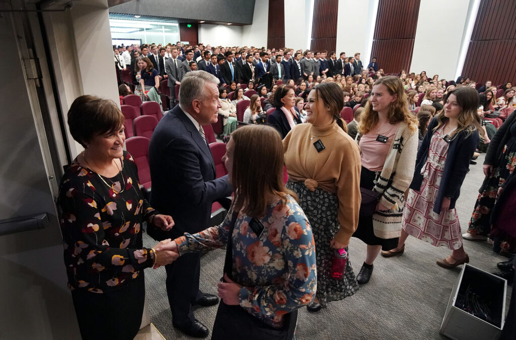 Elder Brent H. Nielson, a General Authority Seventy and executive director of the Church's Missionary Department, and his wife, Sister Marcia Nielson, greet missionaries following a devotional at the Mexico Missionary Training Center of The Church of Jesus Christ of Latter-day Saints on Sunday, Jan. 26, 2020.