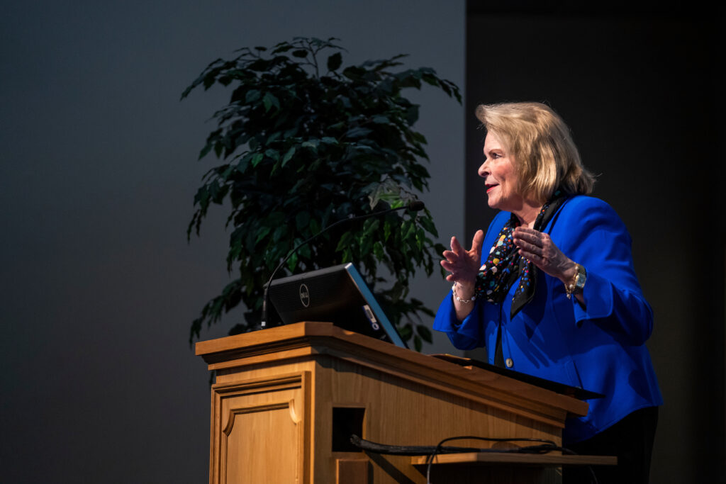 Sheri Dew speaks on the Prophet Joseph Smith during the BYU Church History Symposium at the Conference Center in Provo, Utah, on Thursday, March 12, 2020.