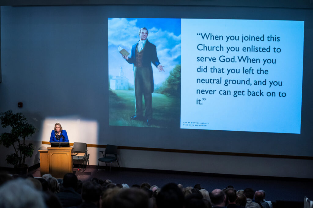 Sheri Dew highlights a quote from the Prophet Joseph Smith during the BYU Church History Symposium at the Conference Center in Provo, Utah, on Thursday, March 12, 2020.