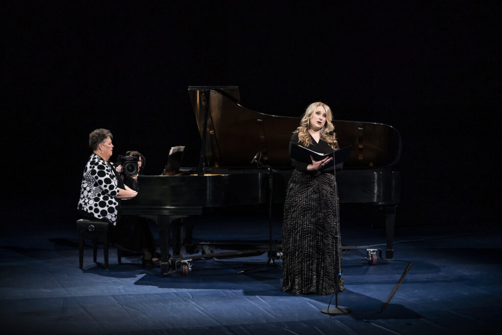 "Korianne Orton Johnson, an assistant teaching professor in the School of Music at BYU, performs ""Savior, Redeemer of My Soul"" during a devotional broadcast from the Marriott Center in Provo, Utah, on March 17, 2020."
