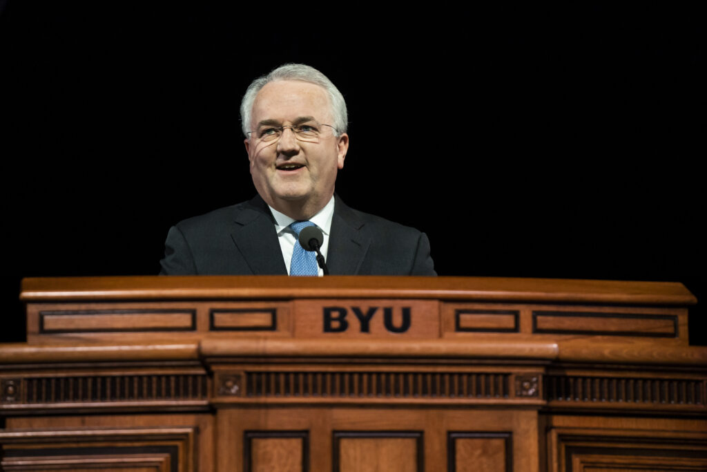 Elder Jack N. Gerard speaks during a devotional broadcast from BYU's Marriott Center in Provo, Utah, on March 17, 2020.