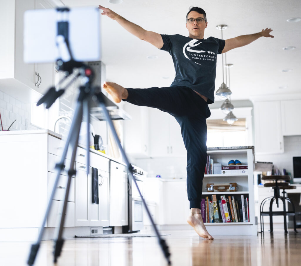 Nathan Balser, the Associate Chair of the BYU Department of Dance, records and practices a choreographed dance to share with his students during the first week of online classes in March, 2020, after BYU directed students to finish the semester at home due to the coronavirus pandemic.