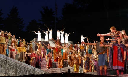 Some of the cast members from the annual Hill Cumorah Pageant in Palmyra, New York, perform during one of the shows held in July 2011.