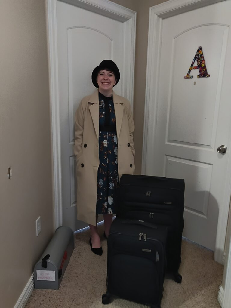 "Sister Aubrey Arnold gets dropped off at her ""MTC"" — her room in the Arnold home in Eagle Mountain, Utah — on March 25, 2020, as a new missionary training to serve in the Nevada Las Vegas West Mission."