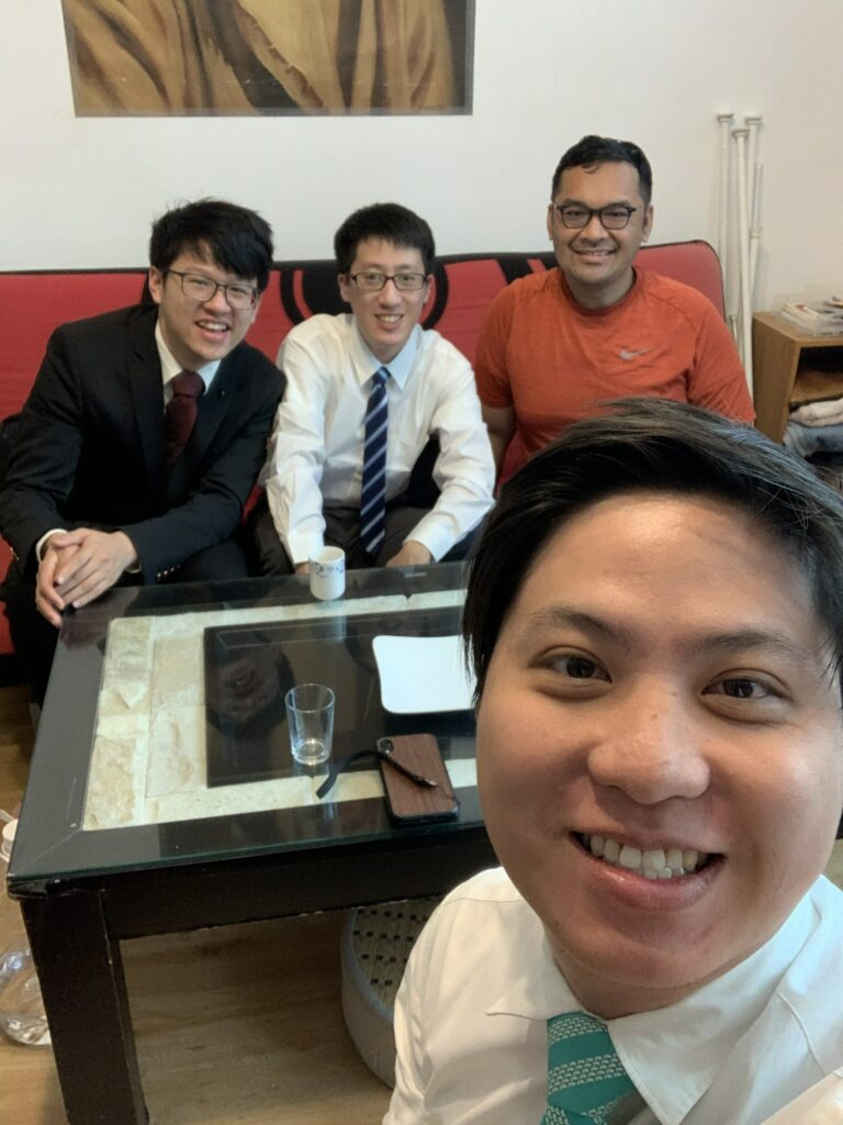 Hong Rui Cong, in foreground, enjoys ministering and sharing a worshipful Sabbath with YSA friends on March 22, 2020, in Taipei, Taiwan.