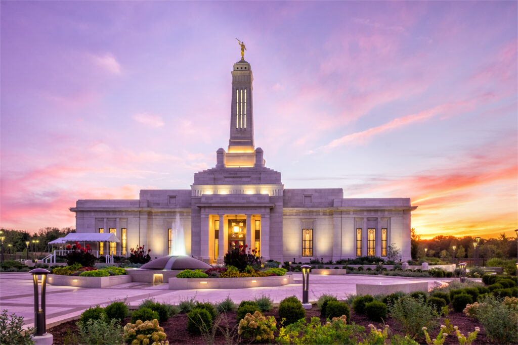 The Indianapolis Indiana Temple at sunset.