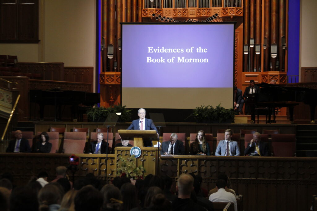 Elder Tad R. Callister, emeritus General Authority Seventy, speaks during an LDS Business College devotional in the Assembly Hall on March 3, 2020.