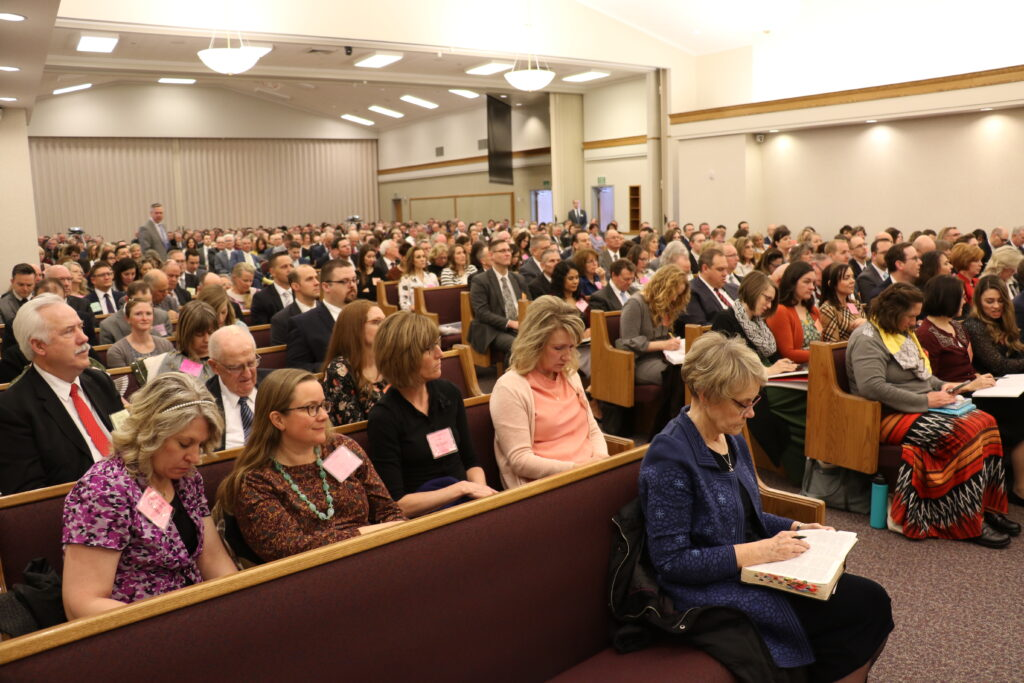 Hundreds gather for Feb. 29, 2020, Leadership Conference in Rexburg, Idaho, presided over by Elder Dieter F. Uchtdorf.
