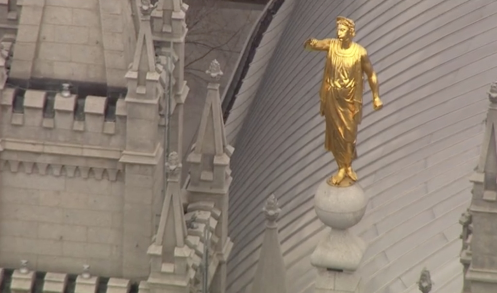 The Angel Moroni statue on top of the Salt Lake temple fell during Wednesday morning's earthquake.