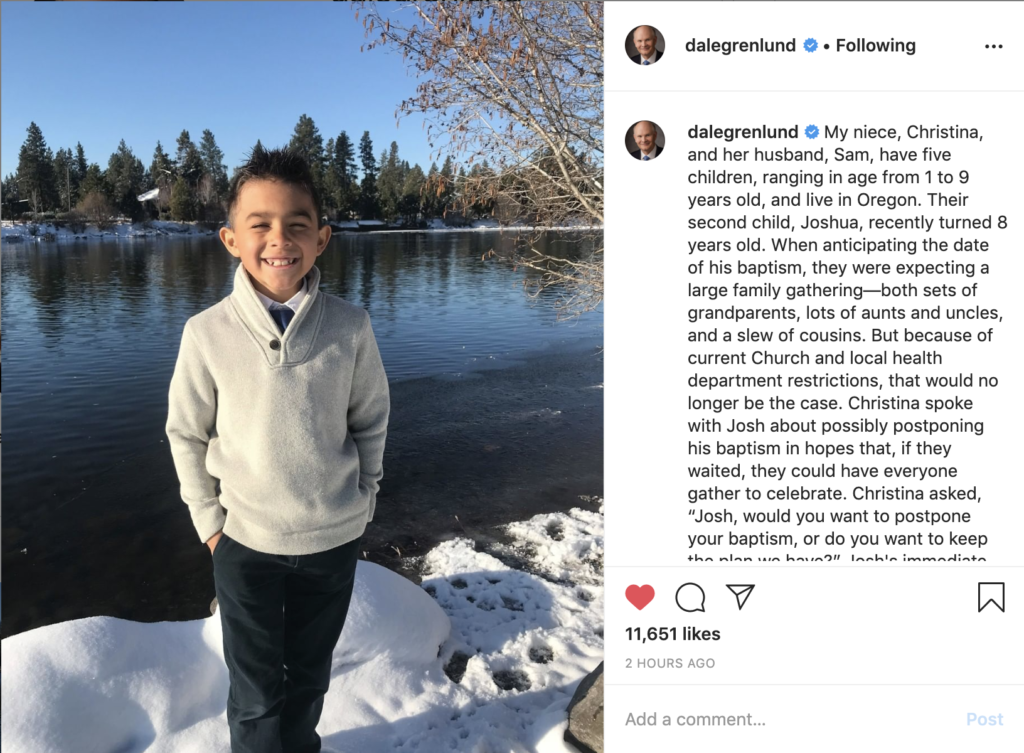 Elder Dale G. Renlund shared a photo of Joshua, who decided not to postpone his baptism, on his Instagram page on March 24, 2020.