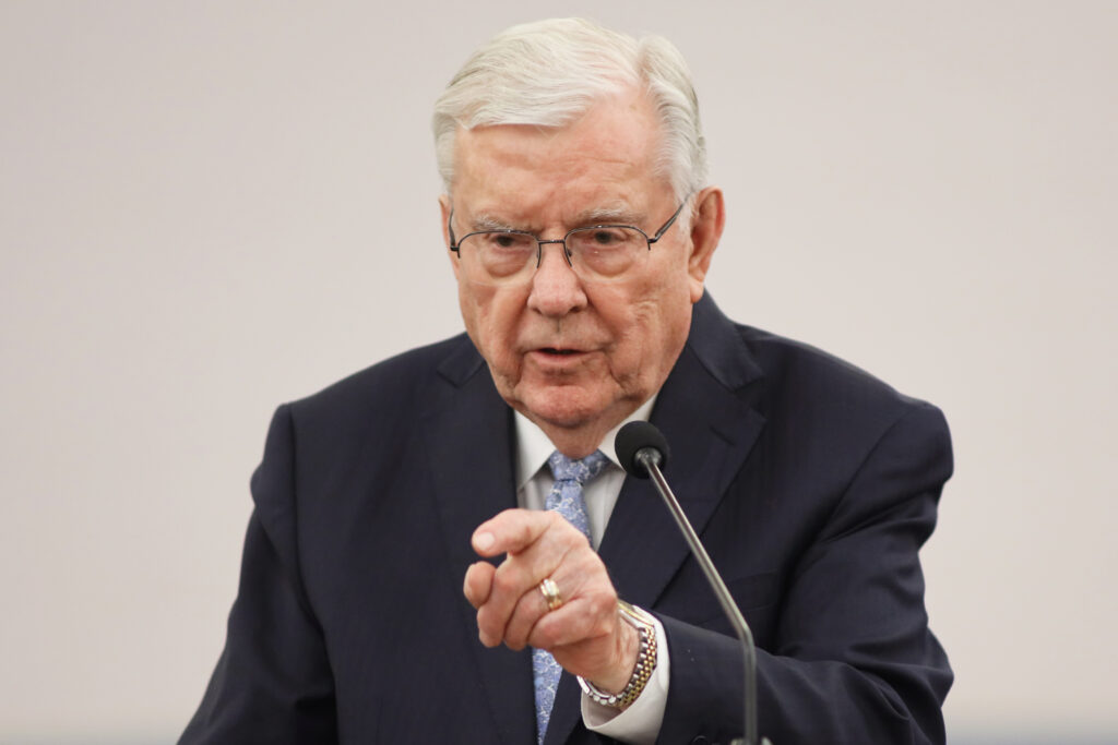 President M. Russell Ballard, acting president of the Quorum of the Twelve Apostles of The Church of Jesus Christ of Latter-day Saints, speaks to missionaries at the Brampton Stake Center in Brampton, Ontario, Canada, March 7, 2020.