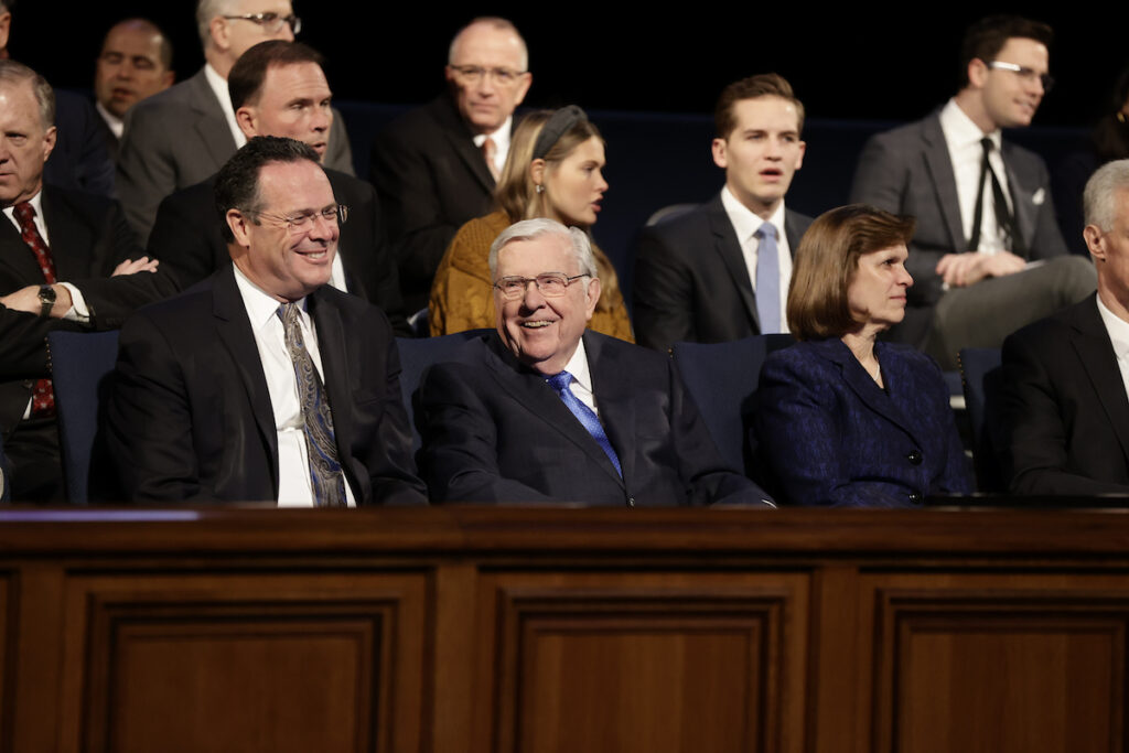 President M. Russell Ballard sits on the stand prior to speaking at a BYU campus devotional on Tuesday, March 3, 2020.
