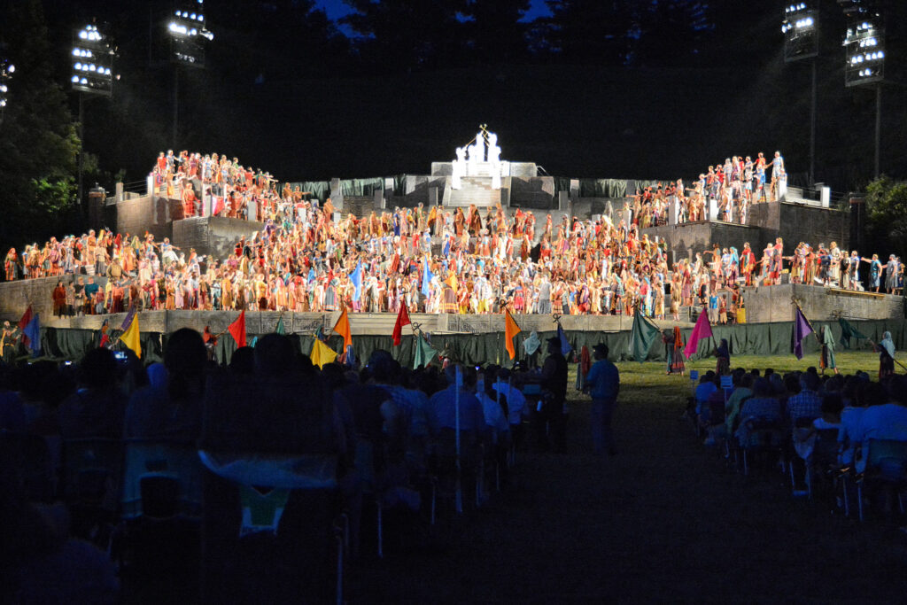 Cast members perform in an early scene from the Hill Cumorah Pageant.