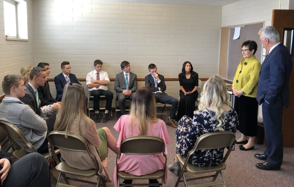 Sister Harriet Uchtdorf shares her conversion story with youth from the Plano Ward, Rexburg Idaho Henry's Fork Stake, on March 1, 2020. She is joined by her husband, Elder Dieter F. Uchtdorf.