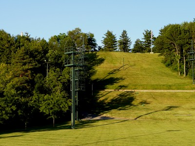 The Cumorah hillside is pictured with lighting towers used during the Hill Cumorah pageant.