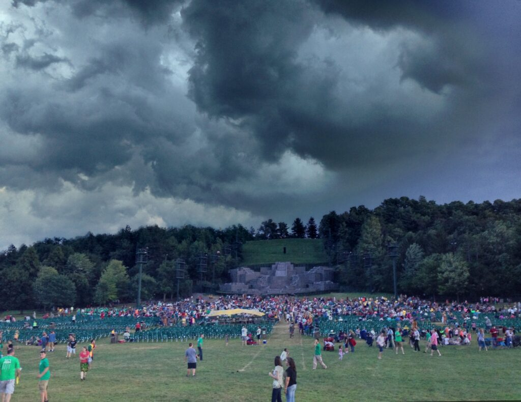 A storm approaches on the evening of Friday, July 19, 2013, over the Hill Cumorah Pageant in Palmyra, New York. The pageant was canceled that night, and it had been canceled only one other time in the last 15 years.