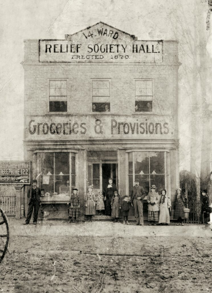 Fourteenth Ward Relief Society Hall. The earliest Relief Society halls in Utah were patterned after the store in Nauvoo in which the society was founded in 1842.