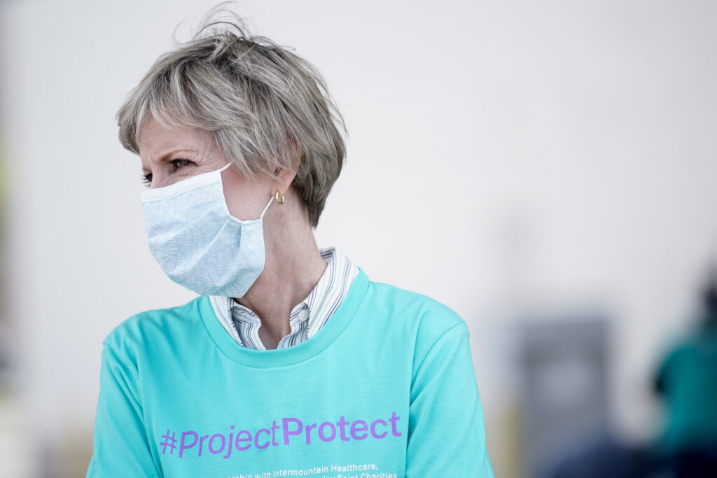 Sister Jean B. Bingham, Relief Society general president of The Church of Jesus Christ of Latter-day Saints, attends a collection drive for homemade clinical masks at the Deseret Industries in Ogden as part of the ProjectProtect initiative by Latter-day Saint Charities and local health care networks on Saturday, April 25, 2020.