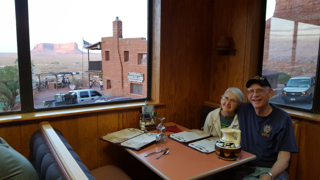 Steve and Sandy Watrous enjoy a meal at Goulding's Lodge and Trading Post in Monument Valley, Utah, in April 2018.