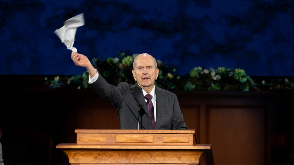 Church President Russell M. Nelson leads the Hosanna Shout at the conclusion of the Sunday morning session of general conference, April 5, 2020. The Hosanna Shout is a way for Latter-day Saints to give honor and praise to God the Father and His Son Jesus Christ. This is an especially notable act to take place as the Church celebrates the bicentennial of Joseph Smith's First Vision of Deity.