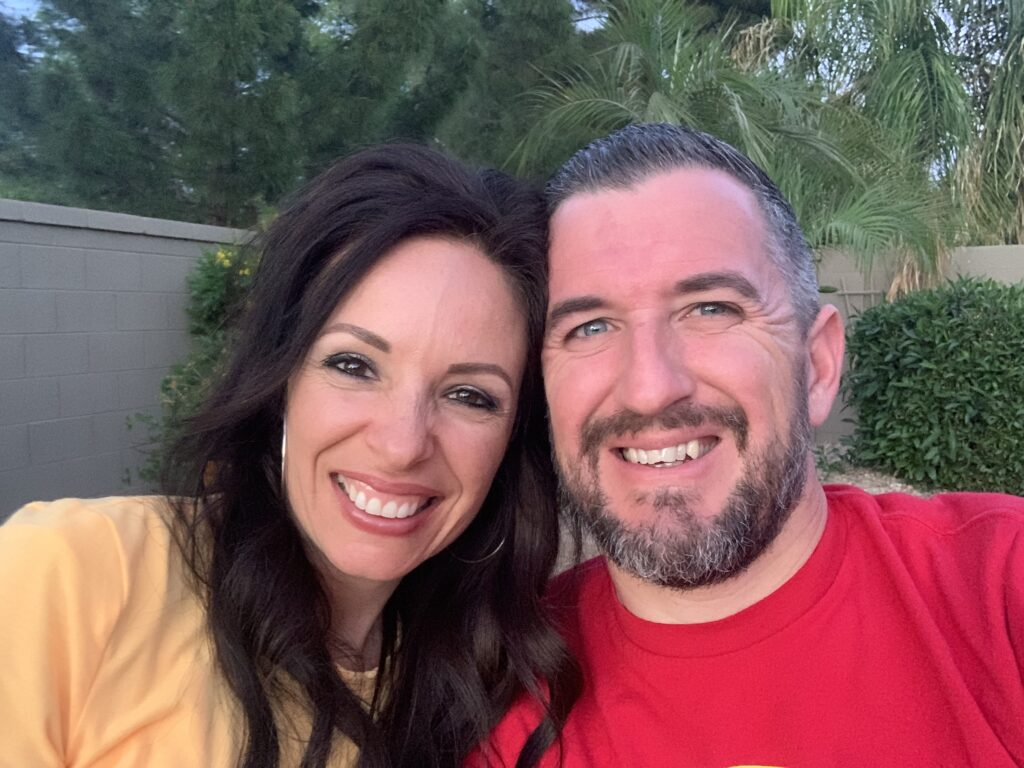 Camaron Perkins, left, is pictured with her husband Jeff in April 2020. After she lost her father to suicide, Perkins found strength and healing by preserving memories and photos of him in the FamilySearch Family Tree app.