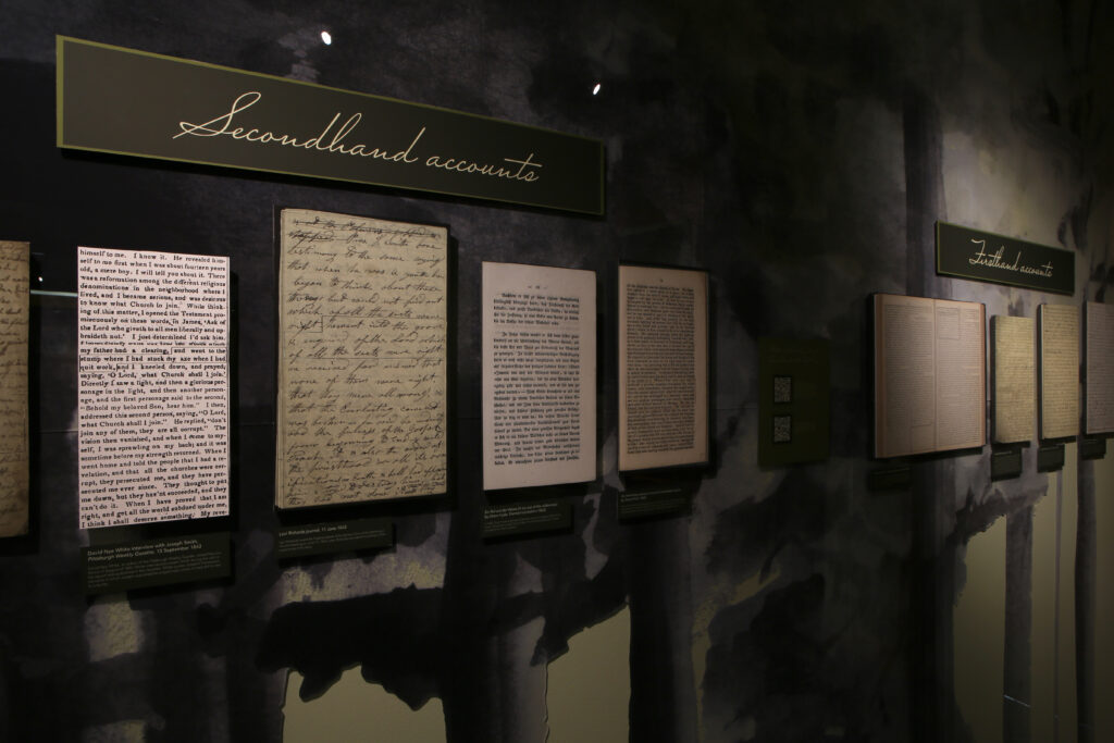 "Copies of the first- and secondhand accounts of the First Vision are on display at BYU's ""I Saw a Pillar of Light"" exhibition."