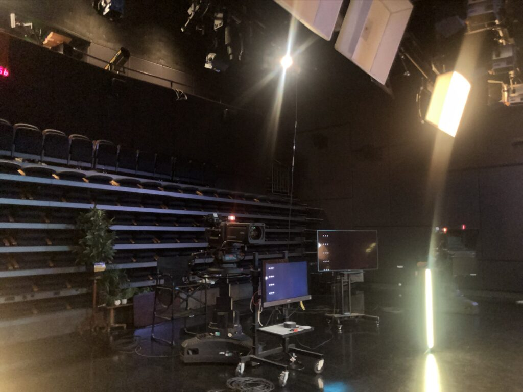 An empty studio A on the BYU campus in Provo, Utah, is set up to film the various sessions of the 2020 BYU Women's Conference digital event.