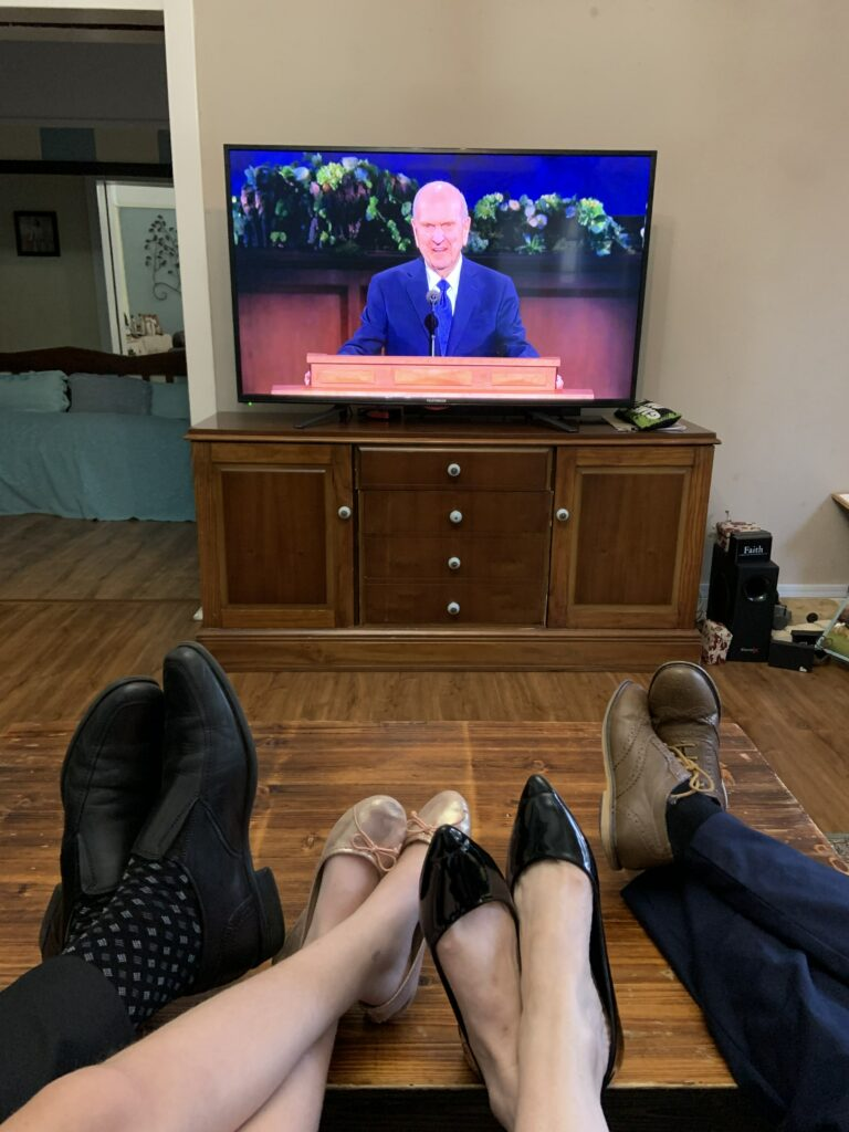 Guy, Chloe, Carla and Chad Shannon watch the Sunday morning session of the 190th Annual General Conference in South Africa on April 5, 2020.