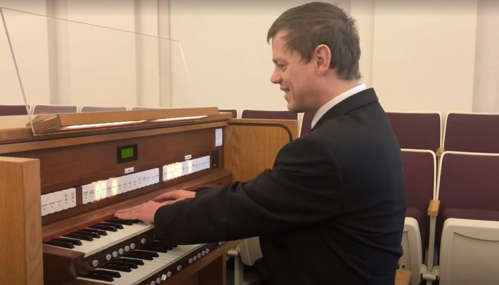 Kyle Woodruff, who lost his sight shortly after birth, has learned to play the organ and more than a dozen other musical instruments.