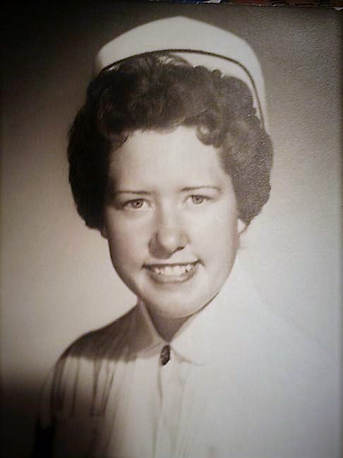 Mae Rudd poses after graduating from Idaho Falls LDS Hospital School of Nursing in 1958.