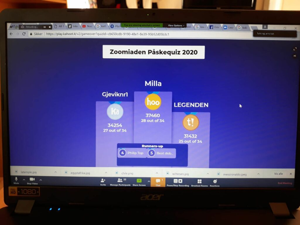 """""""Zoomiaden"""" participants play a round of Kahoot together in Norway on April 7, 2020."""