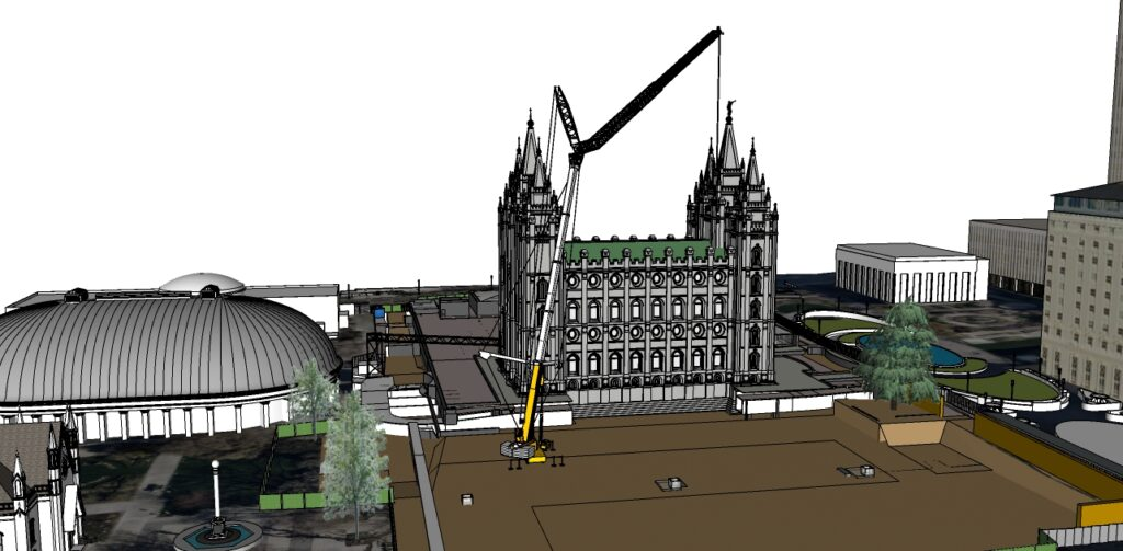 An artist's rendering depicts a crane placed on the south side of the Salt Lake Temple on Thursday, April 2, 2020, to begin to remove stones displaced in last month's earthquake as part of the temple renovation.