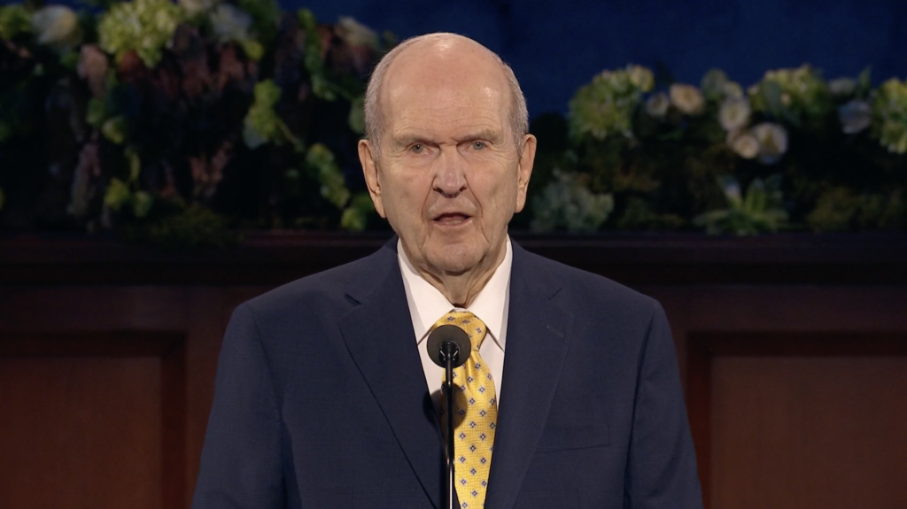 President Russell M. Nelson, president of The Church of Jesus Christ of Latter-day Saints, speaks during a live broadcast of the 190th Annual General Conference on Saturday morning, April 4, 2020.