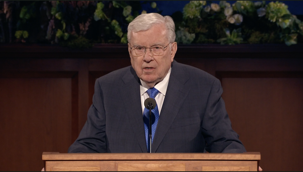 President M. Russell Ballard speaks during the Saturday morning session of the 190th Annual General Conference on April 4, 2020.