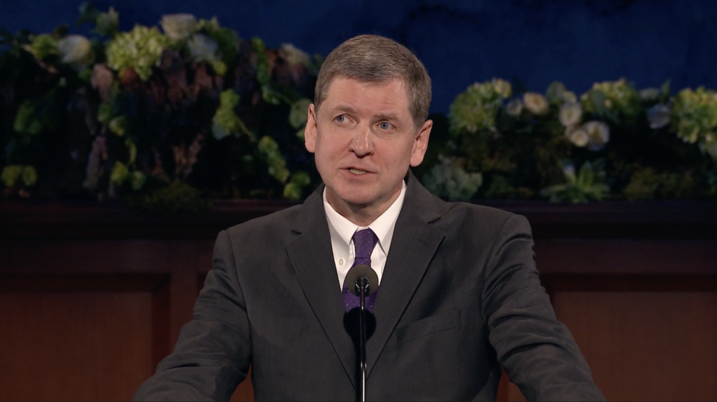 Elder James R. Rasband speaks during the 190th Annual General Conference on April 4, 2020.