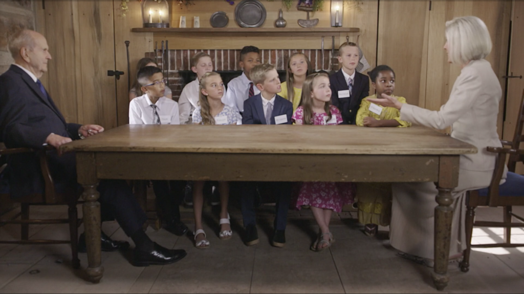 President Russell M. Nelson and President Joy D. Jones speak with a group of children in a previously recorded video shared during the Saturday morning session of the 190th Annual General Conference on April 4, 2020.