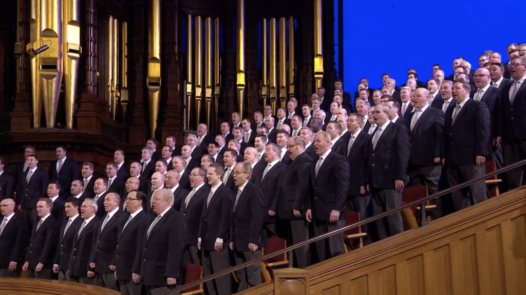 The Tabernacle Choir at Temple Square performs a musical number in a prerecorded performance that was played during the Saturday afternoon session of the 190th Annual General Conference on April 4, 2020.