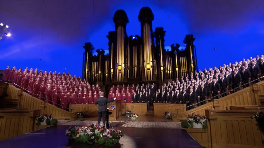 The Tabernacle Choir at Temple Square performs a musical number in a prerecorded performance that was played during the Saturday afternoon session of the 190th Annual General Conference on April 4, 2020. On Monday, April 27, the Choir and Orchestra announced their 2020 Heritage Tour scheduled for several European nations will be postponed until 2021 due to the COVID-19 pandemic.