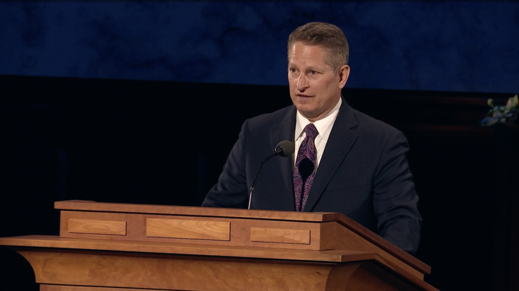 Elder John A. McCune speaks during the Saturday afternoon session of the 190th Annual General Conference on April 4, 2020.