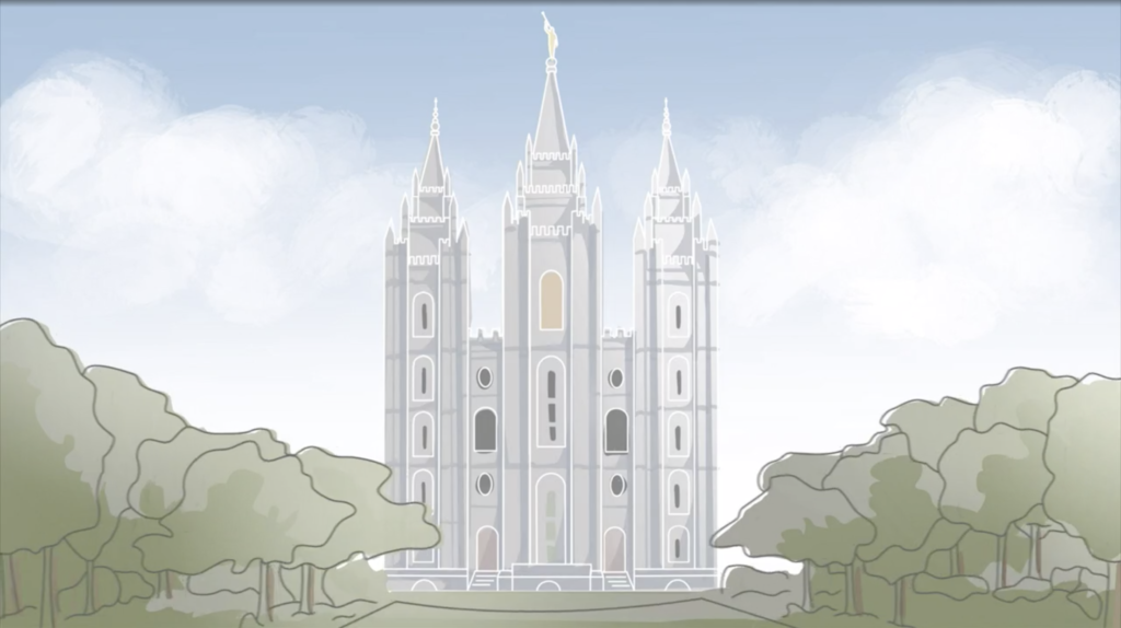 An illustration of the Salt Lake Temple facing an earthquake is shown during Elder Gary E. Stevenson's Saturday afternoon address in the 190th Annual General Conference on April 4, 2020.