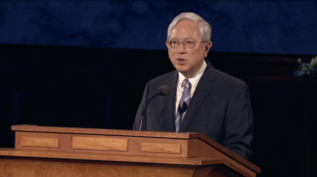 Elder Gerrit W. Gong speaks during the Saturday evening session of the 190th Annual General Conference on April 4, 2020.