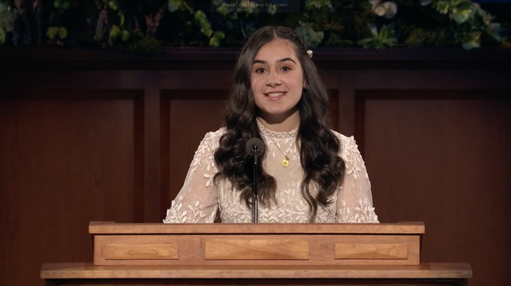 Laudy R. Kaouk speaks during the Saturday evening session of the 190th Annual General Conference on April 4, 2020.