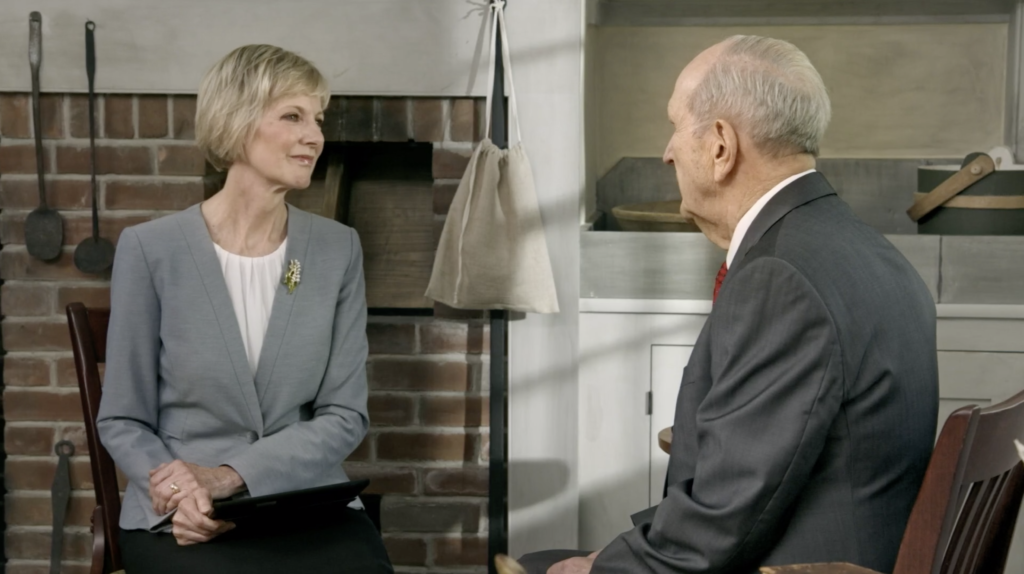 President Jean B. Bingham, Relief Society general president, and President Russell M. Nelson discuss the role of women in the restoration of priesthood authority in a video shown during the Saturday evening session of the 190th Annual General Conference on April 4, 2020.