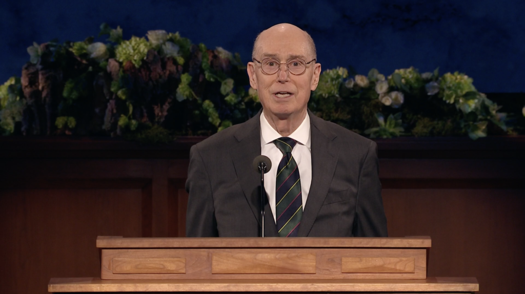President Henry B. Eyring speaks during the Saturday evening session of the 190th Annual General Conference on April 4, 2020.