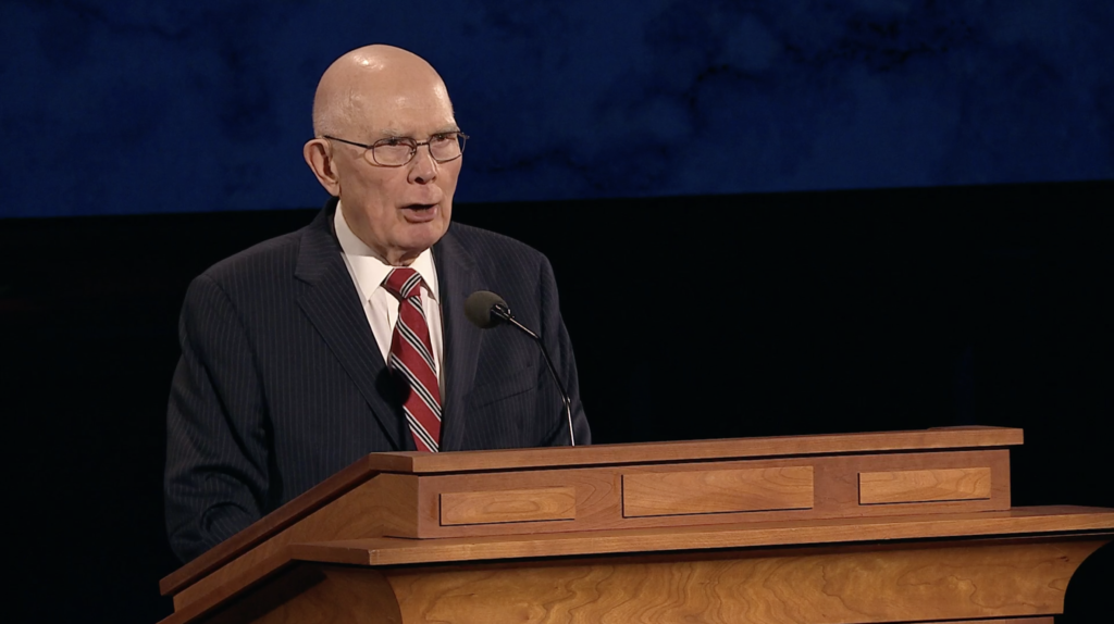 President Dallin H. Oaks speaks during the Saturday evening session of the 190th Annual General Conference on April 4, 2020.