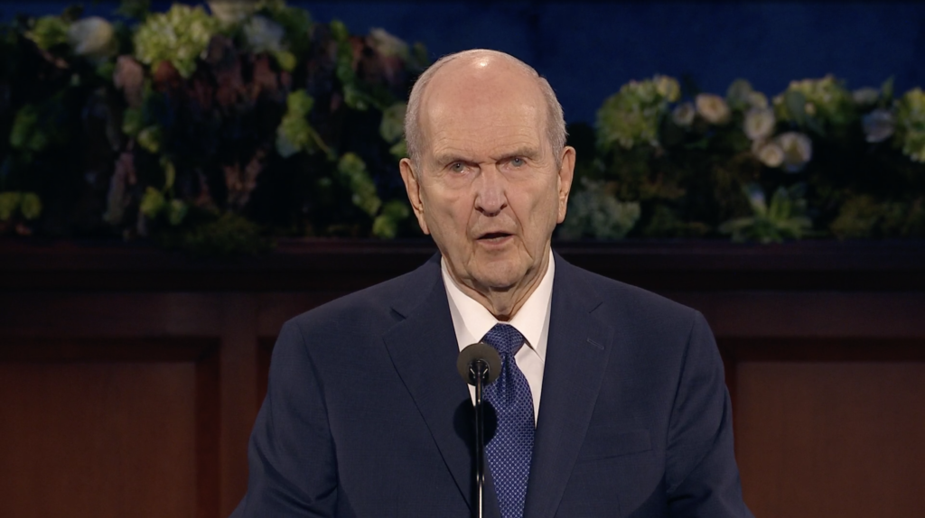 President Russell M. Nelson speaks during the Saturday evening session of the 190th Annual General Conference on April 4, 2020.